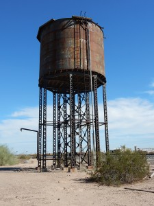 Abandoned water tower, used for steam locomotives, along the Union Pacific line just east of Dateland, Arizona